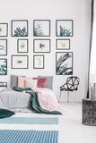 Colorful decor of bedroom. Colorful decor of a bedroom with a king-size bed, plants and posters royalty free stock image