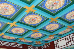 Colorful decorated ceiling in a temple in the Seven Star Crags National Park, Zhaoqing, China Royalty Free Stock Images