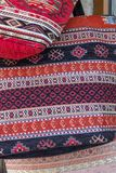 Colorful, decorated cloth bags for sale as souvenirs, Bulgaria stock photo