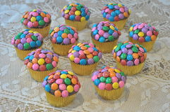 Colorful decorated cupcakes Royalty Free Stock Photos