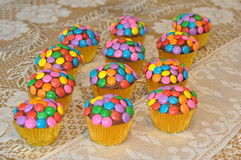 Colorful decorated cupcakes Royalty Free Stock Photography