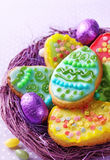 Colorful decorated easter cookies Stock Image