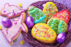 Colorful decorated easter cookies Stock Photography