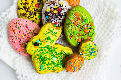 Colorful decorated Easter cookies Royalty Free Stock Images