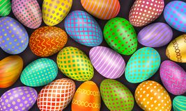 Colorful decorated Easter eggs as background. Collection of festive traditional elements. Vector illustration royalty free illustration