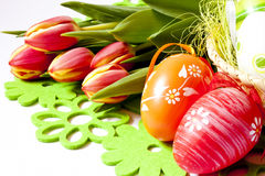 Easter eggs and tulips Royalty Free Stock Images