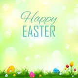 Colorful decorated easter eggs in grass. Illustration of colorful decorated easter eggs in grass Stock Photography