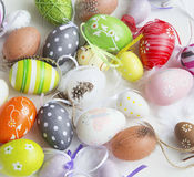 Colorful decorated Easter eggs heap Stock Photos