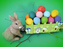 Colorful decorated Easter eggs and rabbit Royalty Free Stock Image