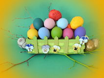 Colorful decorated Easter eggs stock images