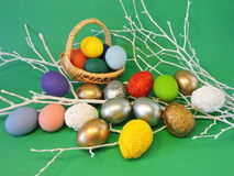 Colorful decorated Easter eggs Royalty Free Stock Photography