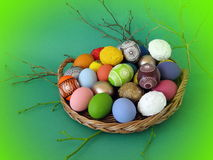 Colorful decorated Easter eggs Royalty Free Stock Photo