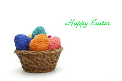 Colorful decorated easter eggs from wool yarn. Stock Image