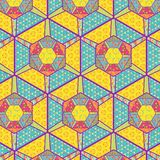 Colorful decorated hexagons for patchwork, quilting and backgrounds royalty free illustration