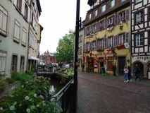 Colorful and decorated houses in the streets of Colmar royalty free stock photo