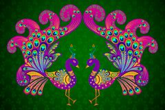 Colorful Decorated Peacock royalty free illustration