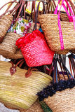 Colorful decorated straw bags shopping Stock Photography