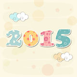Colorful decorated text 2015 for Happy New Year 2015 celebrations concept. Colorful decorated text 2015 on stylish background for Happy New Year celebrations Stock Photo