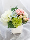 Colorful decoration artificial flower in vase Stock Image