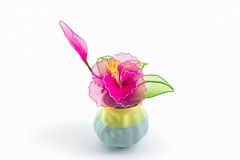 Colorful decoration artificial flower in vase. Royalty Free Stock Photography
