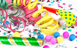 Colorful decoration with garlands, streamer, and confetti. Festive accessory background Royalty Free Stock Photos