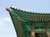 Colorful decoration of Korean architecture. Colorful roof of Korean architecture Royalty Free Stock Images