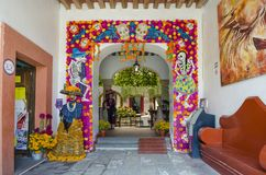 Colorful decoration with skulls and flowers. OAXACA, OAXACA, MEXICO- OCTOBER 30, 2017: Colorful decoration with skulls and flowers for mexican Day of the Dead Stock Image