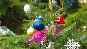 Colorful decoration with various christmas items. Beautiful detailed colorful decoration with various christmas items on a tree stock photos