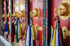 Colorful decoration of the wall of buddhist temple in nepal Royalty Free Stock Photo