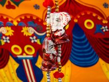 Colorful decoration wooden sculpture of Ganesha. Colorful art decoration wooden sculpture of Ganesha in weaved in beads. At Tribal art and handicraft festival in stock photos