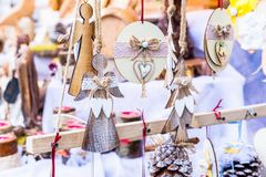 Colorful decorations on the Christmas market in Strasbourg, Alsace, France. stock photography
