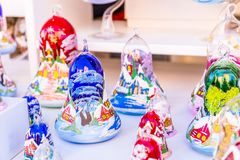 Colorful decorations on the Christmas market in Strasbourg, Alsace, France. royalty free stock photography