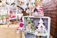 Colorful decorations on the Christmas market in Strasbourg, Alsace, France. stock image