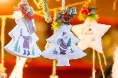 Colorful decorations on the Christmas market in Strasbourg, Alsace, France. royalty free stock images