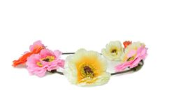 Colorful decorative artificial flowers on white Stock Photography