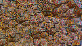 Colorful decorative ceiling. Colorful decorative tiled ceiling at Nasir-ol-Molk mosque, Shiraz, Iran Stock Photos