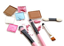 Colorful Decorative cosmetics on white. Top view. Royalty Free Stock Photo