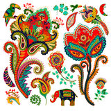 Colorful decorative elements. Paisley, decorative flowers, bird, elephant. Indian ornament Royalty Free Stock Images