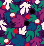 Colorful decorative floral pattern, seamless background with fruits and leaves. Colorful decorative floral pattern, seamless background with fruits and leaves Royalty Free Stock Images