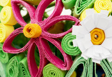 Colorful decorative flowers made of paper. Colorful decorative flowers made of paper. Macro photo stock images