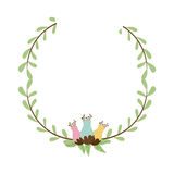 colorful decorative half crown branch with flowerbud Royalty Free Stock Image