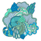 Colorful decorative hand drawn doodle nature ornamental curl vector sketchy pattern. Stock Photos