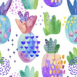Colorful decorative pineapples with watercolor texture, doodles drawings, abstract geometric elements. Cool summer seamless pattern. Hand painted illustration royalty free illustration