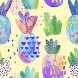 Colorful decorative pineapples with watercolor texture, doodles drawings, abstract geometric elements. Cool summer seamless pattern. Hand painted illustration stock illustration