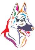 Colorful decorative portrait of German shepherd in profile, vect stock illustration