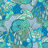 Colorful decorative seamless hand drawn doodle nature ornamental curl vector pattern. Stock Images
