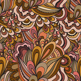 Colorful decorative seamless hand drawn doodle nature ornamental curl vector pattern. Royalty Free Stock Images