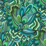 Colorful decorative seamless hand drawn doodle nature ornamental curl vector pattern. Stock Image