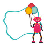 Colorful decorative sheet with frame and male robot with balloons