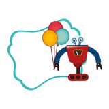 Colorful decorative sheet with frame and robot with balloons